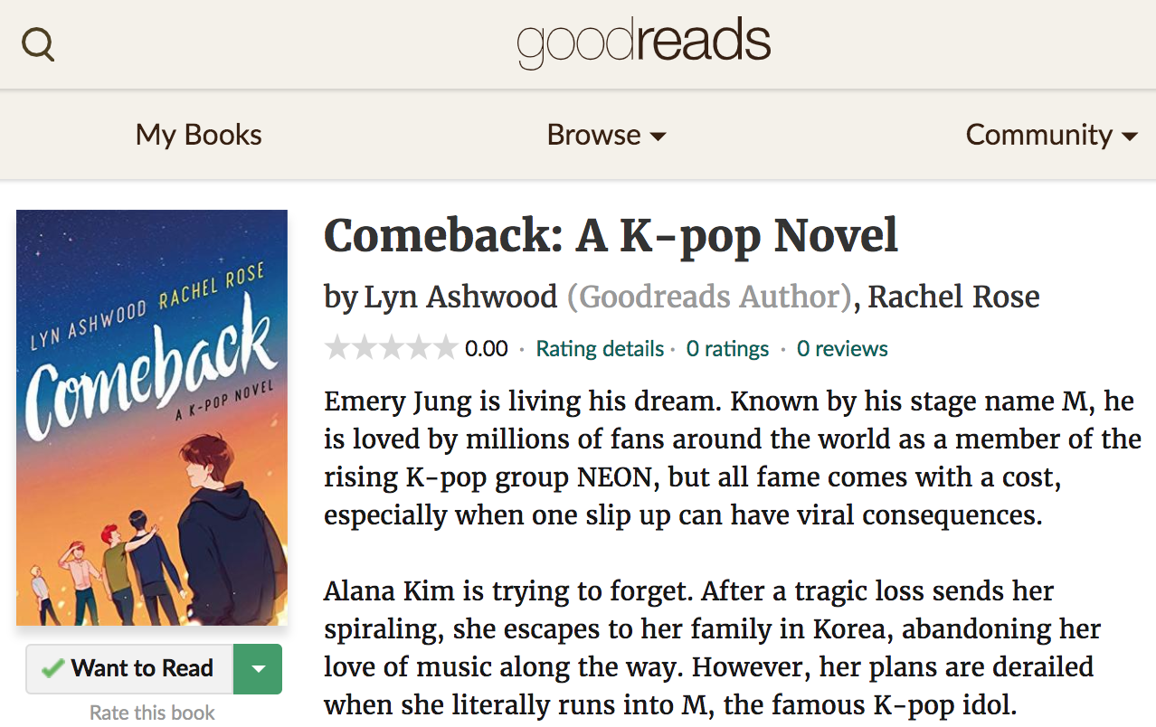 Comeback: A K-pop Novel Goodreads Page